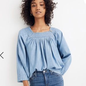 Madewell NWT Denim Square Neck Top